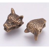 13mm Wolf Head Focal Beads, Antique Brass, Pack of 5