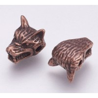 13mm Wolf Head Focal Beads, Antique Copper, Pack of 5