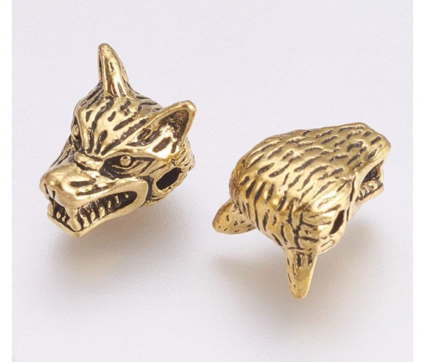13mm Wolf Head Focal Beads, Antique Gold, Pack of 5