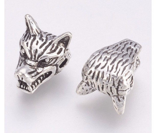 13mm Wolf Head Focal Beads, Antique Silver, Pack of 5