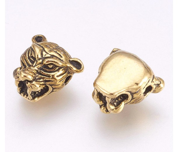 12mm Tiger Head Focal Beads, Antique Gold, Pack of 5