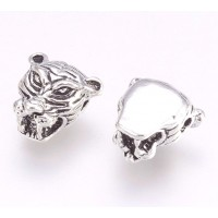 12mm Tiger Head Focal Beads, Antique Silver, Pack of 5