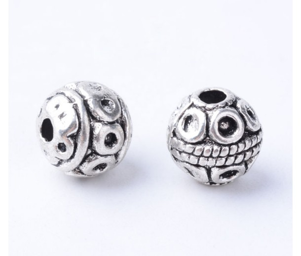 8mm Bali Style Round Beads, Antique Silver, Pack of 10
