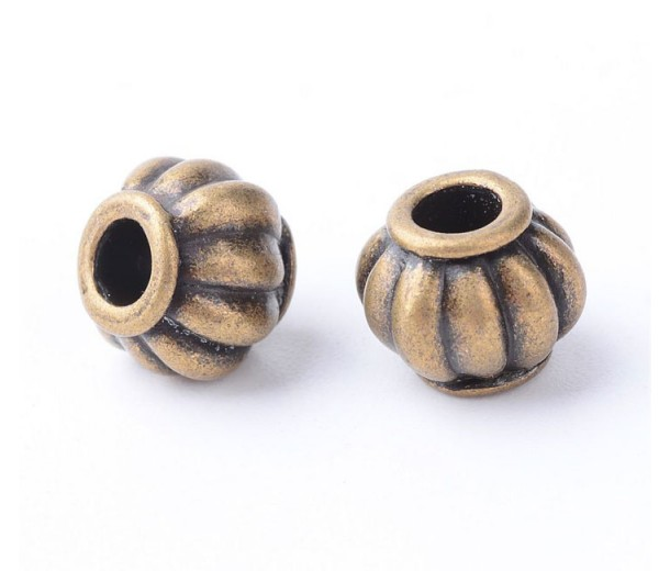10mm Lantern Beads, Antique Brass, Pack of 10