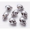 19mm Pirate Skull Bead, Large Hole, Antique Silver