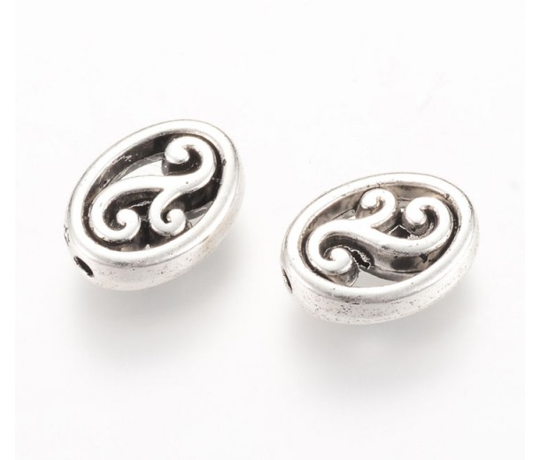 13x10mm Ornate Flat Oval Beads, Antique Silver, Pack of 10