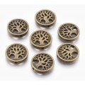 18mm Flat Round Tree of Life Bead, Antique Brass