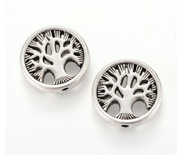 18mm Flat Round Tree of Life Bead, Antique Silver