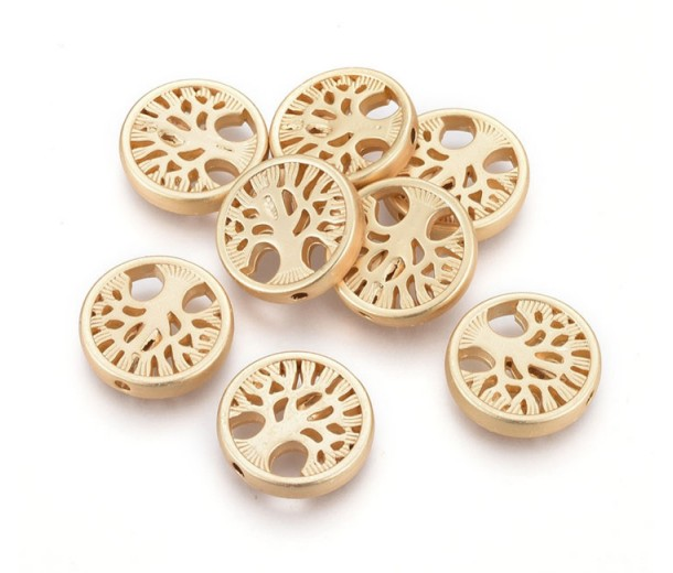 18mm Flat Round Tree of Life Bead, Matte Gold Tone