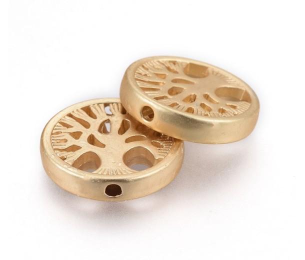 18mm Flat Round Tree of Life Bead, Matte Gold Tone