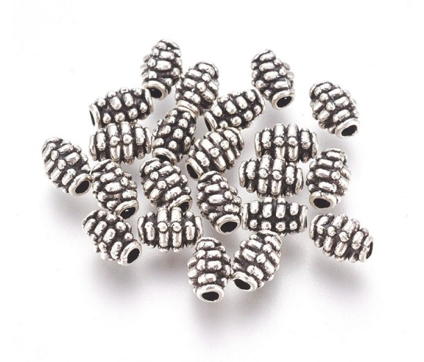 7mm Oval Bali Style Beads, Antique Silver, Pack of 20