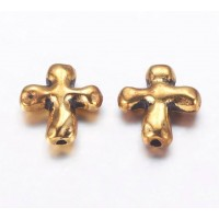 14mm Organic Cross Beads, Antique Gold, Pack of 10