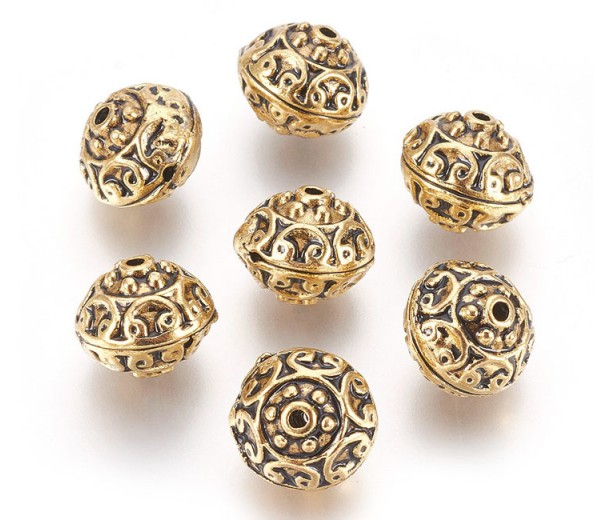 12mm Ornate Hollow Beads, Antique Gold, Pack of 5