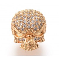 11mm Skull Cubic Zirconia Focal Bead, Gold Tone