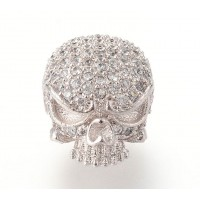 11mm Skull Cubic Zirconia Focal Bead, Rhodium Plated