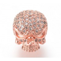 11mm Skull Cubic Zirconia Focal Beads, Rose Gold, 1 Piece
