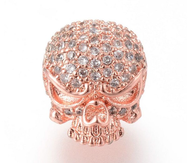 11mm Skull Cubic Zirconia Focal Bead, Rose Gold