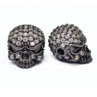 10x13mm Skull Cubic Zirconia Focal Beads, Black Finish