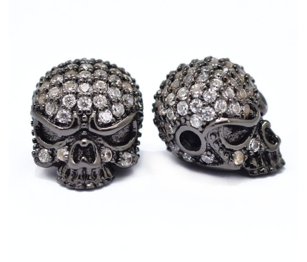 10x13mm Skull Cubic Zirconia Focal Bead, Black Finish, 1 Piece