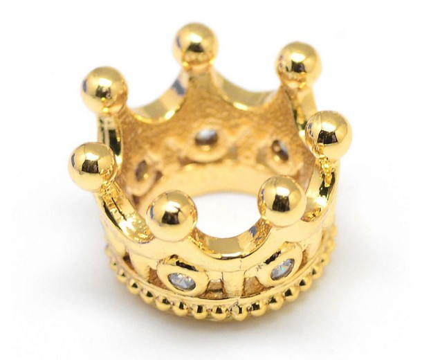 11mm Crown Rhinestone Large Hole Bead, Gold Tone