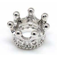 11mm Crown Rhinestone Large Hole Bead, Rhodium Plated