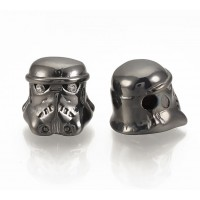 10x11mm Helmet Focal Bead, Gunmetal Finish