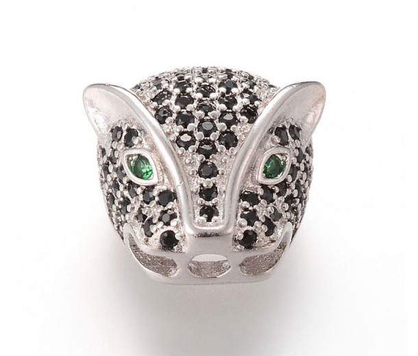 14mm Leopard Head Slider Bead, Rhodium Plated