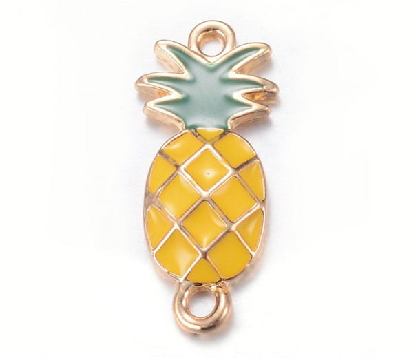 26mm Pineapple Enameled Link, Yellow and Green on Gold Tone, 1 Piece