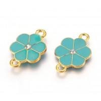 24mm Flower Enameled Link, Teal Green on Gold Tone, 1 Piece