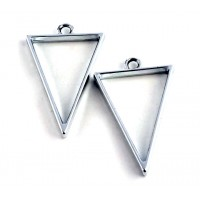 40mm Open Bezel Frame Triangular Pendant, Rhodium