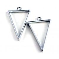 40mm Open Bezel Frame Triangular Pendant, Rhodium