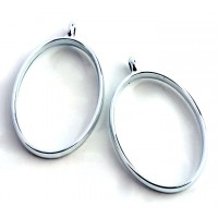 40mm Open Bezel Frame Oval Pendant, Rhodium
