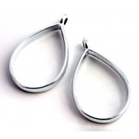 34mm Open Bezel Frame Teardrop Pendant, Rhodium