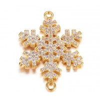 26mm Snowflake Cubic Zirconia Link, Gold Tone, 1 Piece