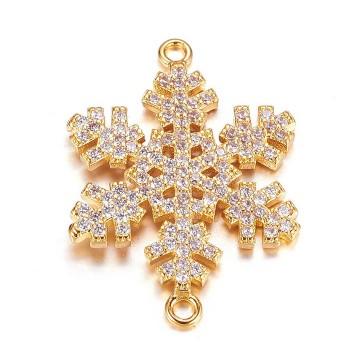 26mm Snowflake Cubic Zirconia Link, Gold Tone, 1 Piece