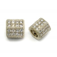 Micro Pave Cubic Zirconia Beads, Rhodium, 8x10mm Hex Tube