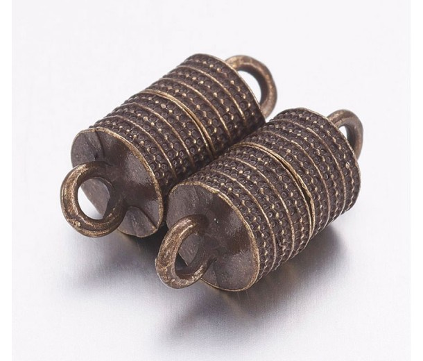 19x8mm Column Magnetic Clasp, Antique Brass, 1 Set