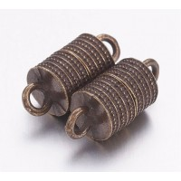 19x8mm Column Magnetic Clasp, Antique Brass, 1 Set