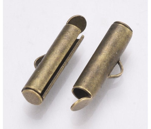 16mm End Bar for Seed Bead Bracelets, Antique Brass, Pack of 20