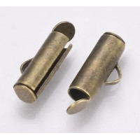 10mm End Bar for Seed Bead Bracelets, Antique Brass, Pack of 20