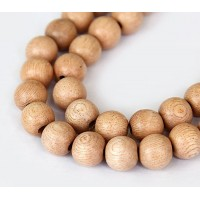 Rosewood Beads, Light Beige, 12mm Round