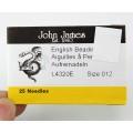 English Beading Needles, 51mm long, Size 12 (Thin), Pack of 25