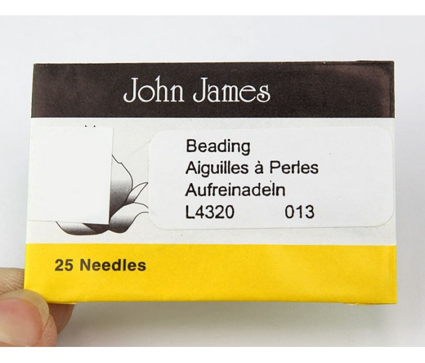 English Beading Needles, 49mm long, Size 13 (Thin)