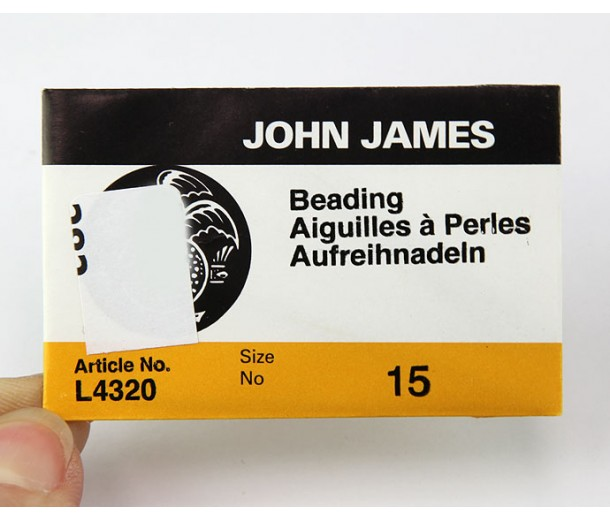 English Beading Needles, 45mm long, Size 15 (Extra Thin), Pack of 25