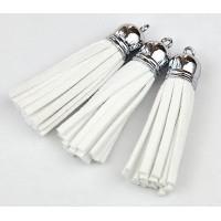 60mm Tassel Pendant, White, Faux Suede