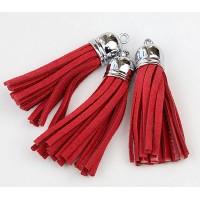 60mm Tassel Pendant, Red, Faux Suede