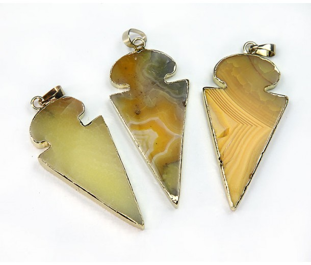 45mm Agate Arrowhead Pendant, Yellow