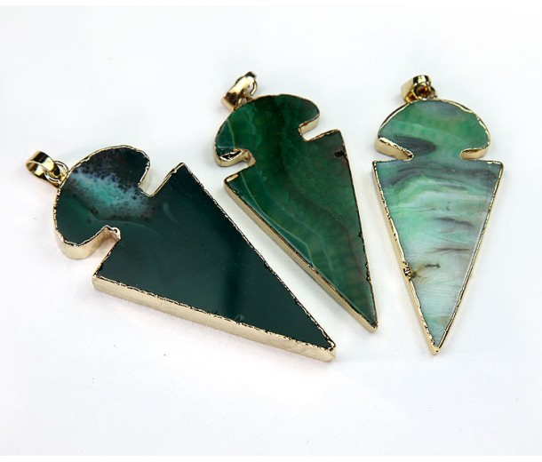 45mm Agate Arrowhead Pendant, Green