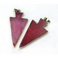 50mm Agate Arrowhead Pendant, Pink