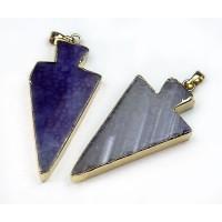 50mm Agate Arrowhead Pendant, Purple
